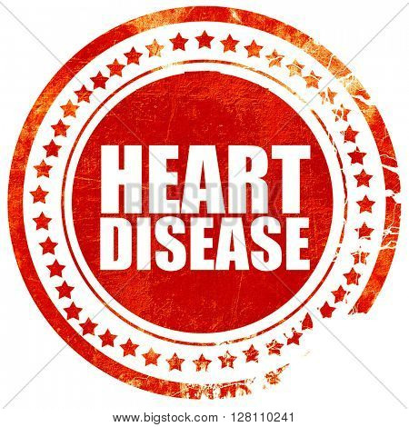 heart disease, red grunge stamp on solid background