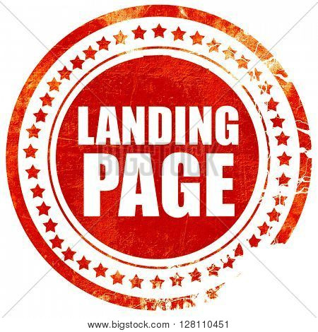 landing page, red grunge stamp on solid background