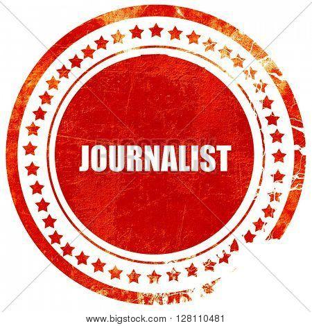 journalist, red grunge stamp on solid background