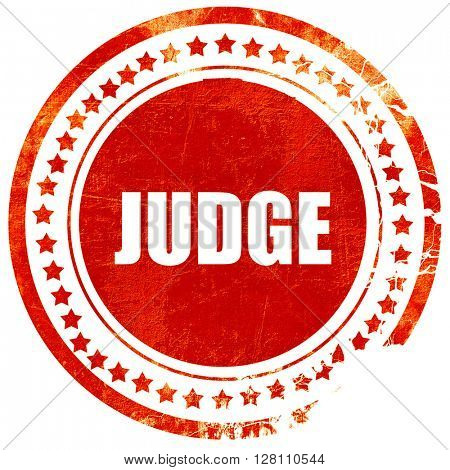 judge, red grunge stamp on solid background