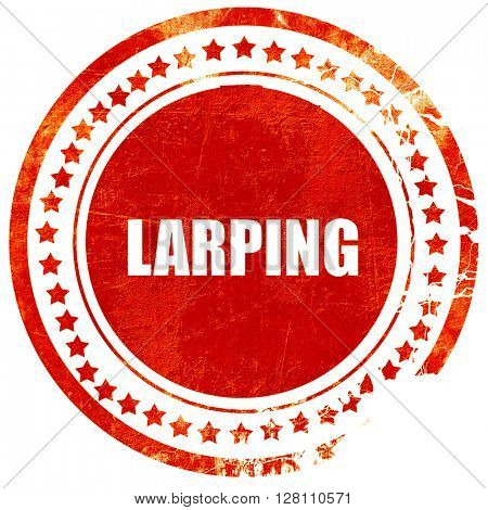 larping, red grunge stamp on solid background