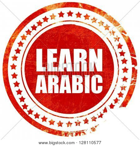 learn arabic, red grunge stamp on solid background