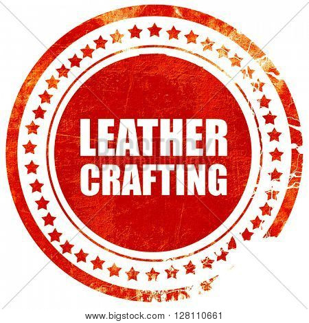leather crafting, red grunge stamp on solid background