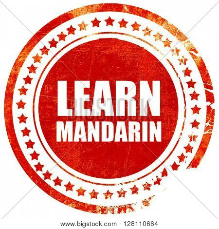 learn mandarin, red grunge stamp on solid background