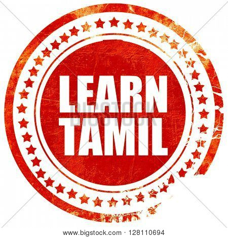 learn tamil, red grunge stamp on solid background