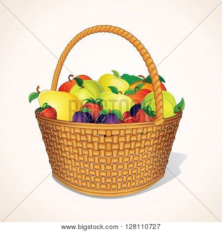 Orchand Harvest in Basket. Hamper of Fresh Organic Berries and Fruits.