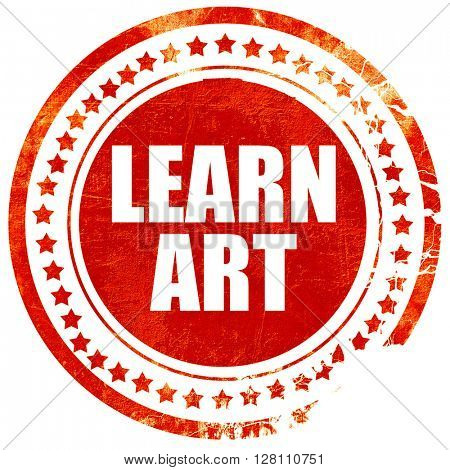 learn art, red grunge stamp on solid background