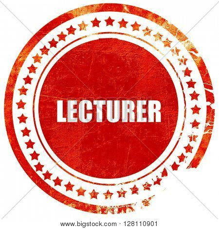 lecturer, red grunge stamp on solid background