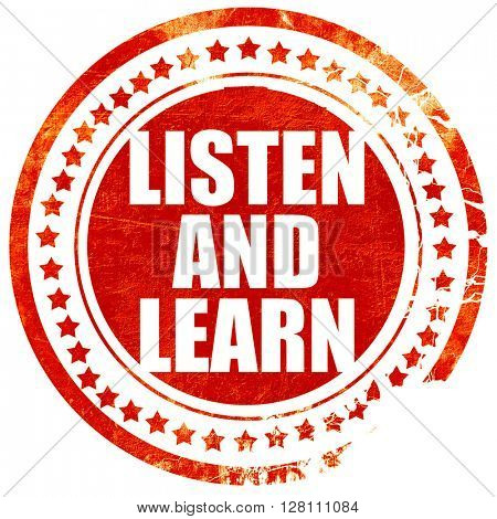 listen and learn, red grunge stamp on solid background