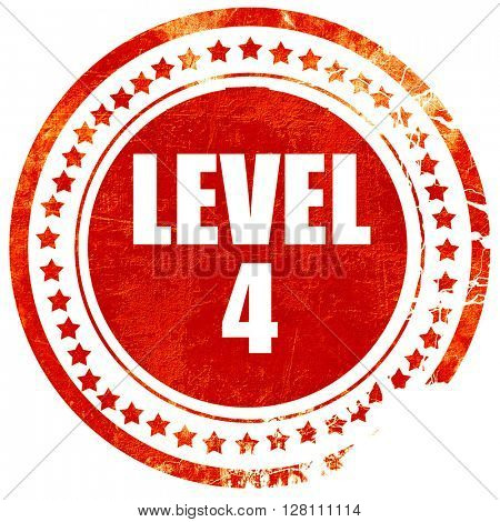 level 4, red grunge stamp on solid background