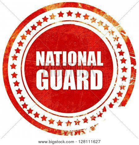 national guard, red grunge stamp on solid background