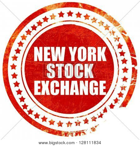 new york stock exchange, red grunge stamp on solid background