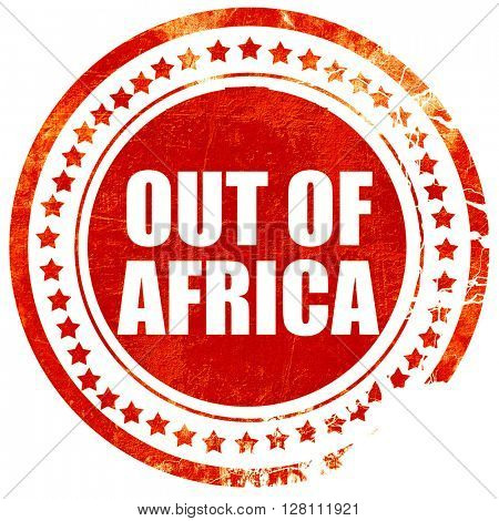 out of africa, red grunge stamp on solid background