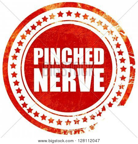 pinched nerve, red grunge stamp on solid background
