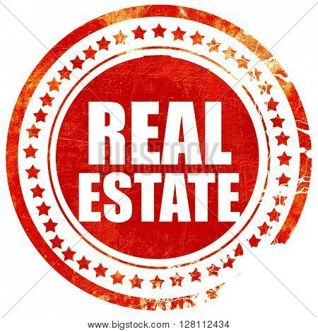 real estate, red grunge stamp on solid background
