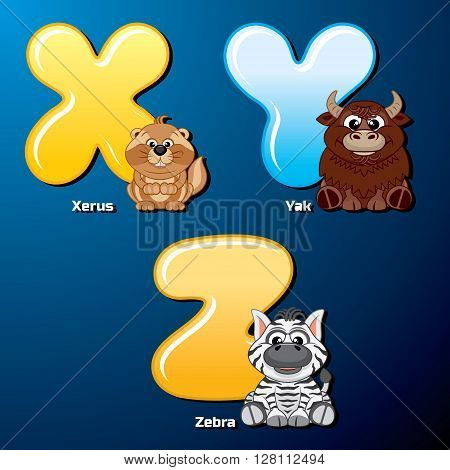 Zoo Alphabet. Cute Animals and Birds in Alphabetical Order. Cartoon Vector Illustration.