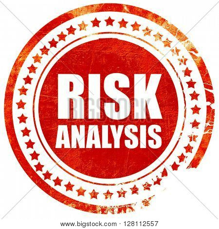 risk analysis, red grunge stamp on solid background