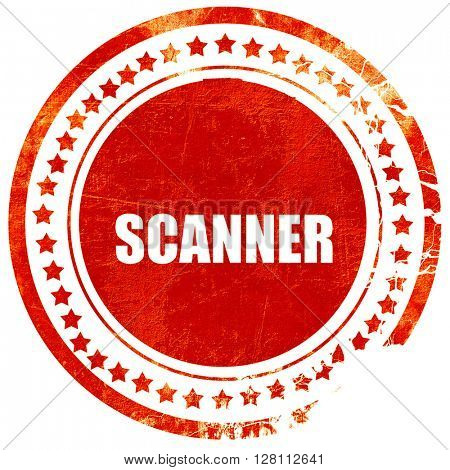 scanner, red grunge stamp on solid background