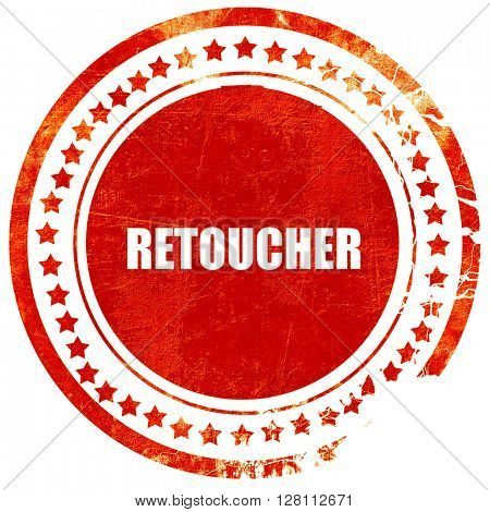 retouch, red grunge stamp on solid background