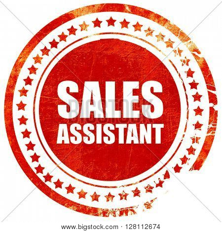 sales assistant, red grunge stamp on solid background