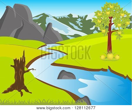 The Beautiful landscape with river and glade.Vector illustration