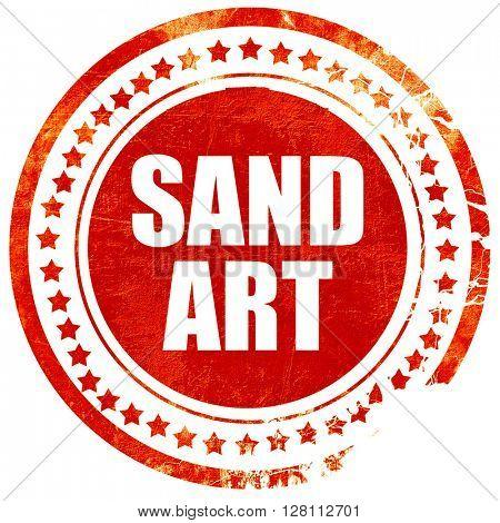 sand art, red grunge stamp on solid background