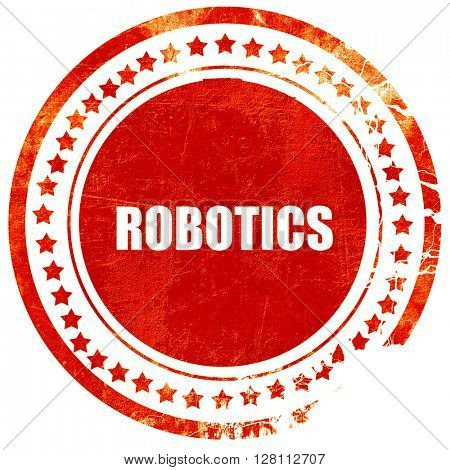 robotics, red grunge stamp on solid background