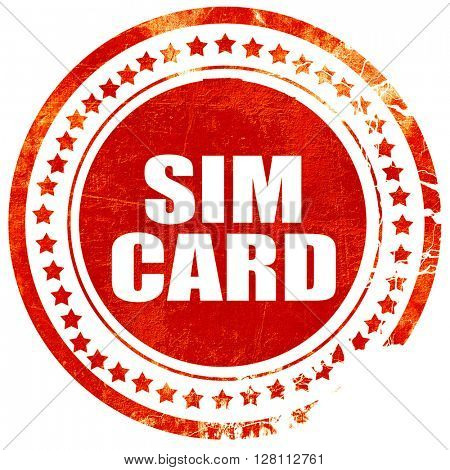 sim card, red grunge stamp on solid background
