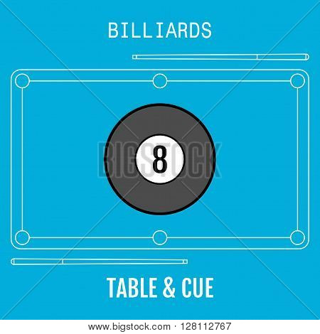 Billiard ball. Sport flat icon. Pool table and cues. Vector illustration