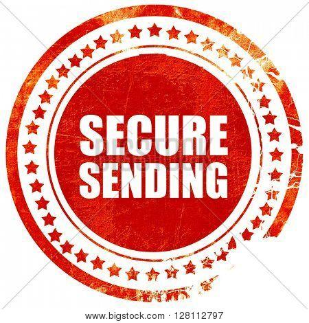 secure sending, red grunge stamp on solid background