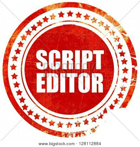 script editor, red grunge stamp on solid background