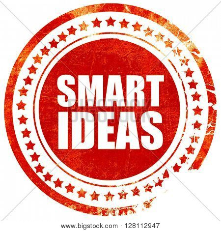 smart ideas, red grunge stamp on solid background