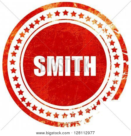 smith, red grunge stamp on solid background