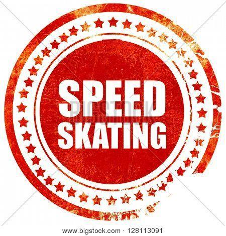 speed skating, red grunge stamp on solid background
