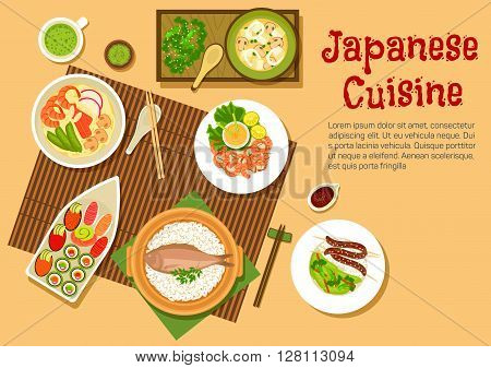 Japanese seafood dinner flat icon with variety of sushi with salmon, tuna, red caviar and sashimi with wasabi, noodle soup with shrimps and crab sticks, squid salad, rice with fish and blood sausages, spicy prawns, side dishes of marinated vegetables and