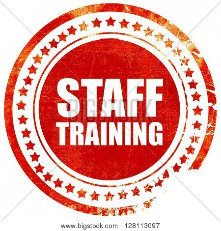 staff training, red grunge stamp on solid background