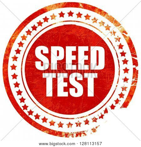 speed test, red grunge stamp on solid background