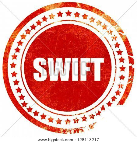 swift, red grunge stamp on solid background