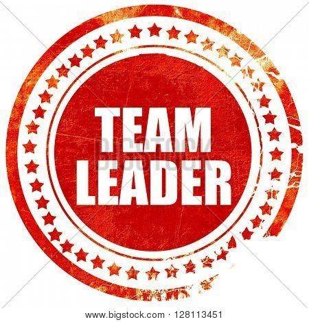 team leader, red grunge stamp on solid background