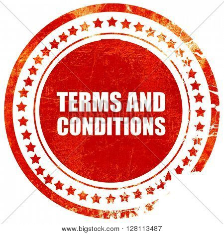 term and conditions, red grunge stamp on solid background