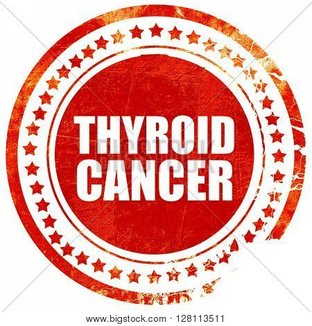thyroid cancer, red grunge stamp on solid background