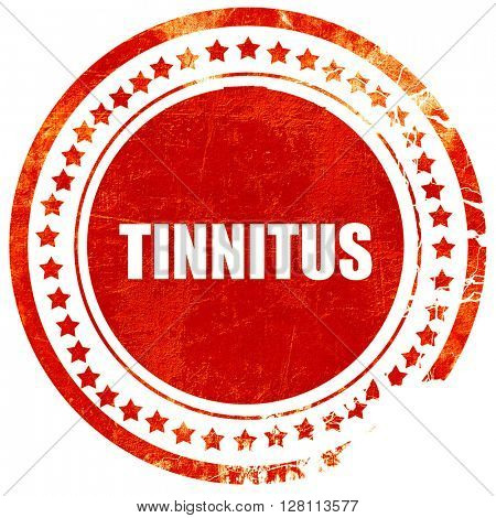 tinnitus, red grunge stamp on solid background