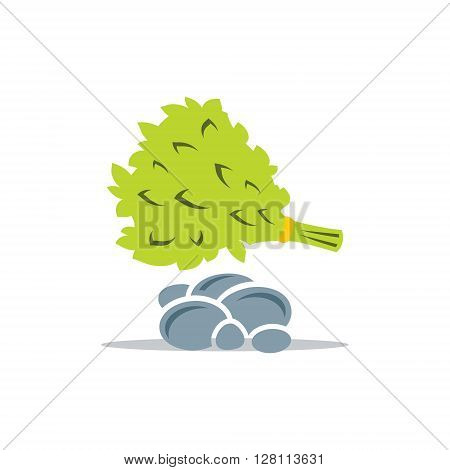 Bathroom attributes Broom and rocks Isolated on a White Background