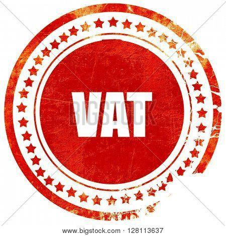 vat, red grunge stamp on solid background