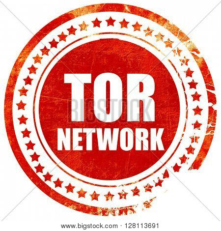tor network, red grunge stamp on solid background