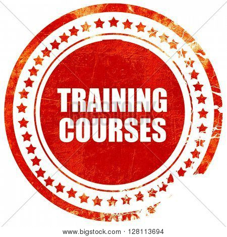 training courses, red grunge stamp on solid background
