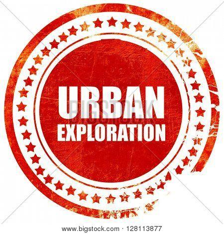 urban exploration, red grunge stamp on solid background