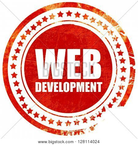 web development, red grunge stamp on solid background