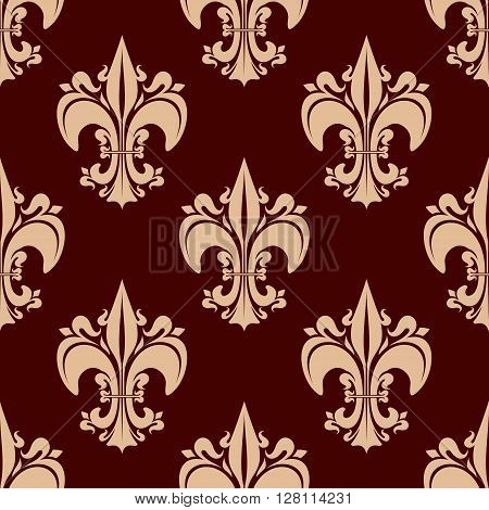 French royal ornamental fleur-de-lis seamless pattern for vintage interior design or historical concept with beige victorian lily flowers on brown background