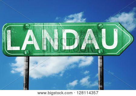 Landau road sign, 3D rendering, vintage green with clouds backgr